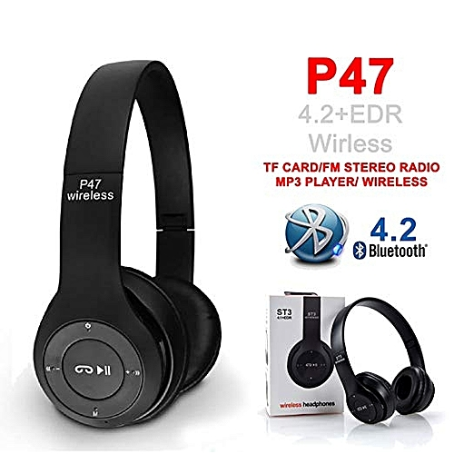 Product details of Headphones wireless Bluetooth headset P47 Foldable Over the Ear headphones Music and phone controls ensure ease of use Suport TF card and FM radio. Works with or without Bluetooth capability Easy to controls your headphones Adjustable Headband Foldable Portable Design High Quality Scope of work 10meters Working time 5 hours standby time 15 hours New Bluetooth V4.1 Headphones Wireless Foldable Stereo Headphone with Microphone for Cell Phones iPhone 7 7Plus 6s 6 6 Plus 5s 5c 5 4s 4 Ipod Touch Ipad Air 5 4 3 2 Mini; Samsung Galaxy S6 S5 S4 S3 Note 4 3 2 Tab 3 and More Smart Phones Tablets Not only wireless, also can be used as wired headphone (Provides a simple 3.5mm wired connection of a variety of devices) Bluetooth High Speed Connected, Anwsering Incoming Calls, Handsfree Talking, Superior Compability, High Fidelity Stereo Surround Sound Built-in microphone technology allows clear Phone communication; Enables use as a headset.Product details of Headphones wireless Bluetooth headset P47 Foldable Over the Ear headphones Music and phone controls ensure ease of use Suport TF card and FM radio. Works with or without Bluetooth capability Easy to controls your headphones Adjustable Headband Foldable Portable Design High Quality Scope of work 10meters Working time 5 hours standby time 15 hours New Bluetooth V4.1 Headphones Wireless Foldable Stereo Headphone with Microphone for Cell Phones iPhone 7 7Plus 6s 6 6 Plus 5s 5c 5 4s 4 Ipod Touch Ipad Air 5 4 3 2 Mini; Samsung Galaxy S6 S5 S4 S3 Note 4 3 2 Tab 3 and More Smart Phones Tablets Not only wireless, also can be used as wired headphone (Provides a simple 3.5mm wired connection of a variety of devices) Bluetooth High Speed Connected, Anwsering Incoming Calls, Handsfree Talking, Superior Compability, High Fidelity Stereo Surround Sound Built-in microphone technology allows clear Phone communication; Enables use as a headset.Product details of Headphones wireless Bluetooth headset P47 Foldable Over the Ear