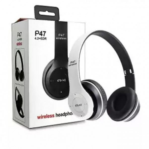 Product details of Headphones wireless Bluetooth headset P47 Foldable Over the Ear headphones Music and phone controls ensure ease of use Suport TF card and FM radio. Works with or without Bluetooth capability Easy to controls your headphones Adjustable Headband Foldable Portable Design High Quality Scope of work 10meters Working time 5 hours standby time 15 hours New Bluetooth V4.1 Headphones Wireless Foldable Stereo Headphone with Microphone for Cell Phones iPhone 7 7Plus 6s 6 6 Plus 5s 5c 5 4s 4 Ipod Touch Ipad Air 5 4 3 2 Mini; Samsung Galaxy S6 S5 S4 S3 Note 4 3 2 Tab 3 and More Smart Phones Tablets Not only wireless, also can be used as wired headphone (Provides a simple 3.5mm wired connection of a variety of devices) Bluetooth High Speed Connected, Anwsering Incoming Calls, Handsfree Talking, Superior Compability, High Fidelity Stereo Surround Sound Built-in microphone technology allows clear Phone communication; Enables use as a headset.